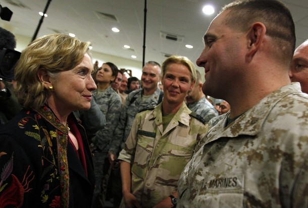 U.S. State Secretary Hillary Clinton meets with International troops at Kabul airport before leaving Afghanistan November 19, 2009. REUTERS/Jerry Lampen (AFGHANISTAN)