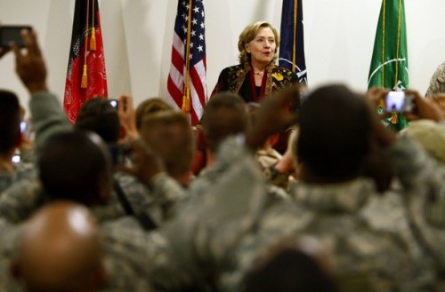 U.S. State Secretary Hillary Clinton speaks during a meeting with International troops at Kabul airport before her departure from Afghanistan November 19, 2009. REUTERS/Jerry Lampen (AFGHANISTAN MILITARY POLITICS CONFLICT)