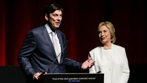 "AOL CEO and chairman Tim Armstrong, left, introduces Democratic presidential candidate Hillary Rodham Clinton before the premiere of the movie ""Makers: Once and for All"", Thursday, Nov. 19, 2015, in New York. The movie chronicles the months in 1995 leading up to the U.N. Fourth World Conference on Women in Beijing which Clinton attended. (AP Photo/Julie Jacobson)"
