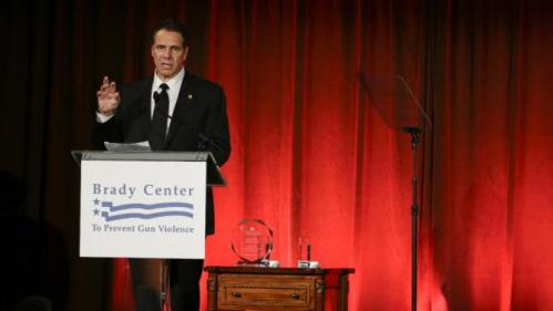 New York Gov. Andrew Cuomo introduces Democratic presidential candidate Hillary Rodham Clinton at the Brady Bear Awards Gala Thursday, Nov. 19, 2015, in New York. (AP Photo/Frank Franklin II)