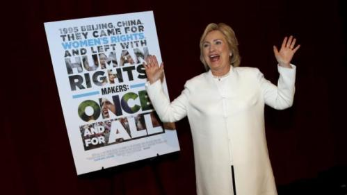 """Democratic U.S. presidential candidate Hillary Clinton arrives for the premiere of the documentary film """"Makers: Once And For All"""" at the DOC NYC documentary film festival in the Manhattan borough of New York City November 19, 2015. """"Makers: Once And For All"""" tells the story of the 1995 Beijing Women's Conference and features commentary from the former U.S. First Lady and Secretary of State. REUTERS/Mike Segar"""