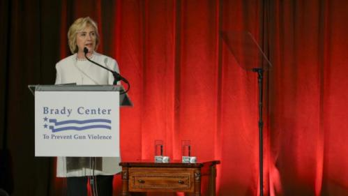 Democratic presidential candidate Hillary Rodham Clinton speaks at the Brady Bear Awards Gala Thursday, Nov. 19, 2015, in New York. (AP Photo/Frank Franklin II)