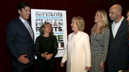 "Democratic U.S. presidential candidate Hillary Clinton greets AOL CEO Tim Armstrong (L) as she arrives for the premiere of the documentary film ""Makers: Once And For All"" at the DOC NYC documentary film festival in the Manhattan borough of New York City, November 19, 2015. ""Makers: Once And For All"" tells the story of the 1995 Beijing Women's Conference and features commentary from the former U.S. First Lady and Secretary of State. Also pictured are director Dyllan McGee (2nd L), producer Samantha Leibovitz (2nd R) and director Michael Epstein (R). REUTERS/Mike Segar"