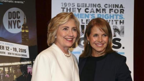 "Democratic presidential candidate Hillary Rodham Clinton, left, poses for a photo with Katie Couric before the premiere of the movie ""Makers: Once and for All,"" Thursday, Nov. 19, 2015, in New York. The movie chronicles the months in 1995 leading up to the U.N. Fourth World Conference on Women in Beijing which Clinton attended. (AP Photo/Julie Jacobson)"