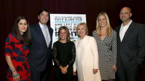 """Democratic U.S. presidential candidate Hillary Clinton (C) poses for photographers with (from L) producer Sarah Wolitzky, AOL CEO Tim Armstrong, director Dyllan McGee, producer Samantha Leibovitz and director Michael Epstein at the premiere of the documentary film """"Makers: Once And For All"""" at the DOC NYC documentary film festival in the Manhattan borough of New York City, November 19, 2015. """"Makers: Once And For All"""" tells the story of the 1995 Beijing Women's Conference and features commentary from the former U.S. First Lady and Secretary of State. REUTERS/Mike Segar"""