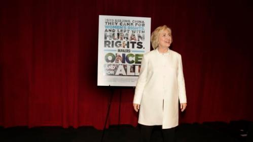 "Democratic presidential candidate Hillary Rodham Clinton arrives for the premiere of the documentary film ""Makers: Once and for All,"" Thursday, Nov. 19, 2015, in New York. The movie chronicles the months in 1995 leading up to the U.N. Fourth World Conference on Women in Beijing which Clinton attended. (AP Photo/Julie Jacobson)"