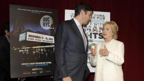 "Democratic presidential candidate Hillary Rodham Clinton, right, talks with AOL chairman and CEO Tim Armstrong before the premiere of the movie ""Makers: Once and for All,"" Thursday, Nov. 19, 2015, in New York. The movie chronicles the months in 1995 leading up to the U.N. Fourth World Conference on Women in Beijing which Clinton attended. (AP Photo/Julie Jacobson)"