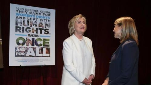 "Democratic presidential candidate Hillary Rodham Clinton, left, talks with Katie Couric before the premiere of the movie ""Makers: Once and for All,"" Thursday, Nov. 19, 2015, in New York. The movie chronicles the months in 1995 leading up to the U.N. Fourth World Conference on Women in Beijing which Clinton attended. (AP Photo/Julie Jacobson)"