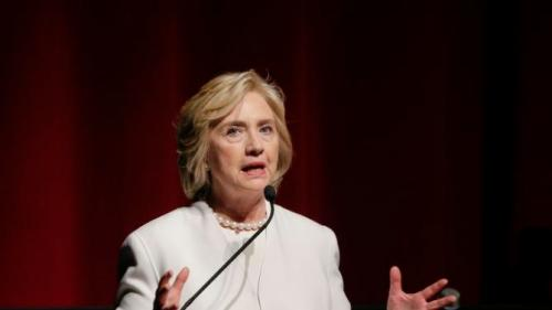 """Democratic presidential candidate Hillary Rodham Clinton speaks before the premiere of the movie """"Makers: Once and for All, Thursday, Nov. 19, 2015, in New York. The movie chronicles the months in 1995 leading up to the U.N. Fourth World Conference on Women in Beijing which Clinton attended. (AP Photo/Julie Jacobson)"""