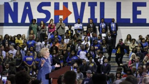 Democratic presidential candidate Hillary Rodham Clinton speaks at Fisk University, Friday, Nov. 20, 2015, in Nashville, Tenn. (AP Photo/Mark Humphrey)