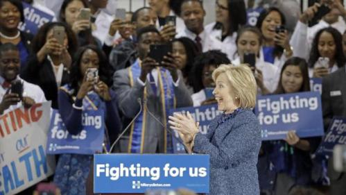 Democratic presidential candidate Hillary Rodham Clinton arrives to speak at Fisk University Friday, Nov. 20, 2015, in Nashville, Tenn. (AP Photo/Mark Humphrey)
