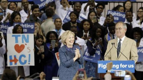 Democratic presidential candidate Hillary Rodham Clinton is introduced by Rep. Jim Cooper, D-Tenn., at Fisk University Friday, Nov. 20, 2015, in Nashville, Tenn. (AP Photo/Mark Humphrey)