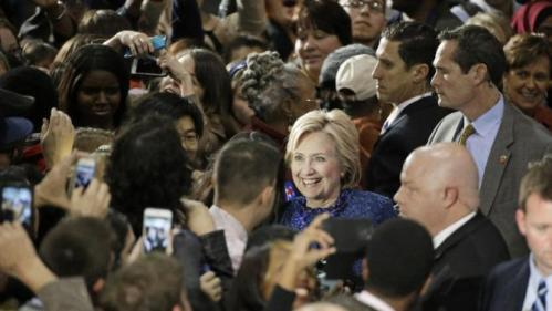 Democratic presidential candidate Hillary Rodham Clinton greets supporters after speaking at Fisk University Friday, Nov. 20, 2015, in Nashville, Tenn. (AP Photo/Mark Humphrey)