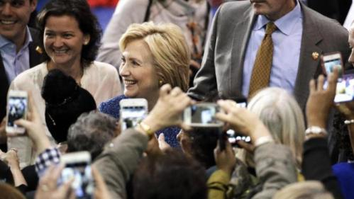 Democratic presidential candidate Hillary Rodham Clinton greets supporters at Fisk University Friday, Nov. 20, 2015, in Nashville, Tenn. (AP Photo/Mark Humphrey)