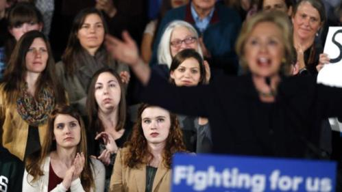 Supporters listen to Democratic presidential candidate Hillary Rodham Clinton speak at a campaign rally in Boulder, Colo., Tuesday, Nov. 24, 2015. (AP Photo/Brennan Linsley