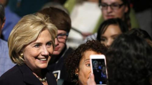Democratic presidential candidate Hillary Rodham Clinton greets supporters after speaking at a campaign rally in Boulder, Colo., Tuesday, Nov. 24, 2015. (AP Photo/Brennan Linsley
