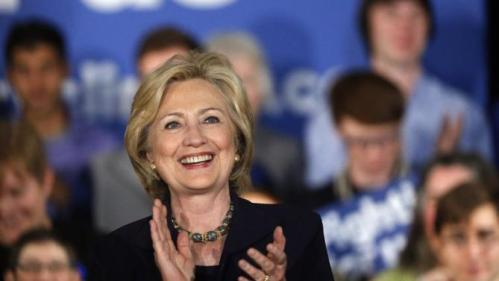 Democratic presidential candidate Hillary Rodham Clinton greets supporters before speaking at a campaign rally in Boulder, Colo., Tuesday, Nov. 24, 2015. (AP Photo/Brennan Linsley