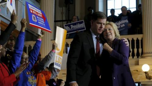 Boston Mayor Marty Walsh hugs U.S. Democratic presidential candidate Hillary Clinton (R) at the conclusion of a campaign rally with labor unions at Faneuil Hall in Boston, Massachusetts November 29, 2015. Walsh endorsed Clinton at the rally. REUTERS/Brian Snyder