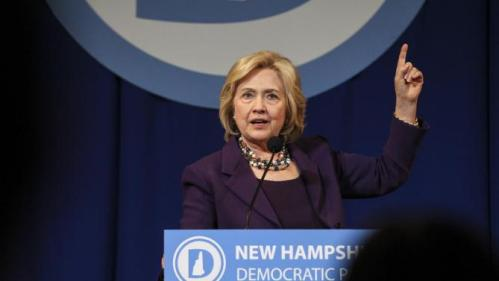 Democratic presidential candidate Hillary Clinton gestures while speaking at the at New Hampshire Democrats party's annual dinner in Manchester, N.H., Sunday, Nov. 29, 2015. (AP Photo/Cheryl Senter)
