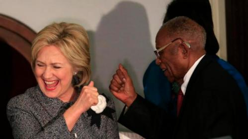 U.S. Democratic presidential candidate Hillary Clinton is greeted by Fred D. Gray, attorney for the late civil rights icon Rosa Parks, at the Dexter Avenue Baptist church during the National Bar Association's 60th anniversary of the Montgomery Bus Boycott in Montgomery, Alabama December 1, 2015. REUTERS/Marvin Gentry TPX IMAGES OF THE DAY