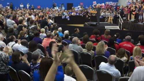 Democratic presidential candidate Hillary Clinton speaks about Florida at a Grassroots Organizing Event at the Meadow Woods Recreation Center, Wednesday, Dec., 2, 2015, in Orlando, Fla. (AP Photo/Willie J. Allen Jr.)
