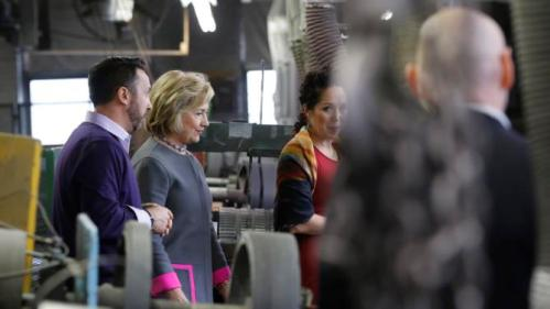Democratic presidential candidate Hillary Clinton tours WH Bagshaw, a 5th generation family owned business Thursday, Dec. 3, 2015, in Nashua, N.H. (AP Photo/Jim Cole)