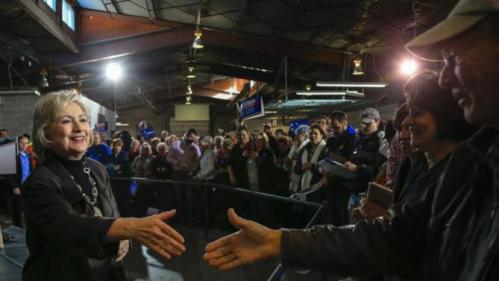 Democratic presidential candidate Hillary Clinton greets audience members after speaking at a campaign stop in Sioux City, Iowa, Friday, Dec. 4, 2015. (AP Photo/Nati Harnik)