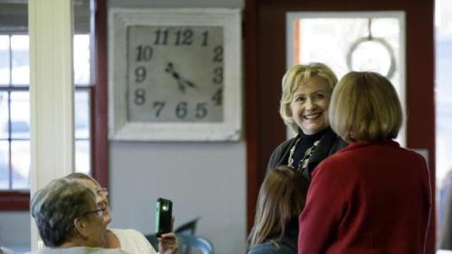 Democratic presidential candidate Hillary Clinton meets esidents at Apple Orchard Cafe Friday, Dec. 4, 2015, in Fort Dodge, Iowa. (AP Photo/Charlie Neibergall)