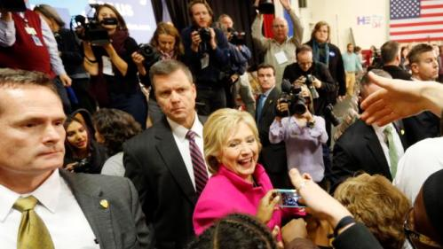 Democratic presidential candidate Hillary Clinton greets voters during a campaign stop Tuesday, Dec. 8, 2015, in Salem, N.H. (AP Photo/Jim Cole)