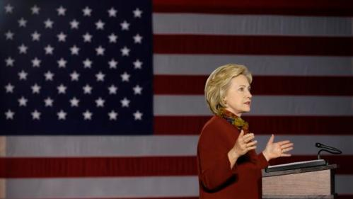 Democratic presidential candidate Hillary Clinton speaks about her counterterrorism strategy during a speech at the University of Minnesota Tuesday, Dec. 15, 2015, in Minneapolis. (AP Photo/Charlie Neibergall)