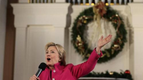Democratic presidential candidate Hillary Clinton speaks during a town hall style campaign event, Tuesday, Dec. 29, 2015, at South Church in Portsmouth, N.H. (AP Photo/Steven Senne)