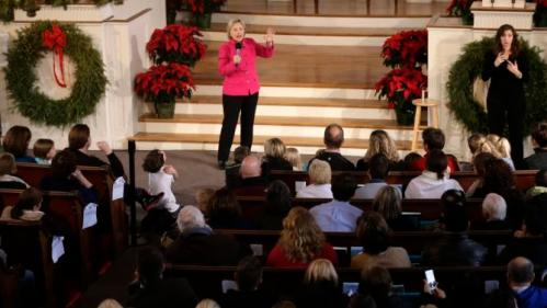Democratic presidential candidate Hillary Clinton addresses an audience during a town hall style campaign event Tuesday, Dec. 29, 2015, at South Church, in Portsmouth, N.H. (AP Photo/Steven Senne)