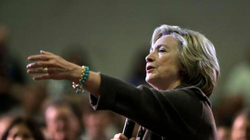 Democratic presidential candidate Hillary Clinton takes a question during a town hall campaign event Sunday, Jan. 3, 2016, in Derry, N.H. (AP Photo/Steven Senne)