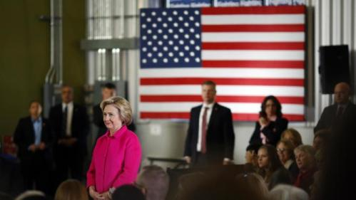 Democratic presidential candidate Hillary Clinton waits to be introduced before speaking at a town hall at NewBo City Market in Cedar Rapids, Iowa, Monday, Jan. 4, 2016. (AP Photo/Patrick Semansky)