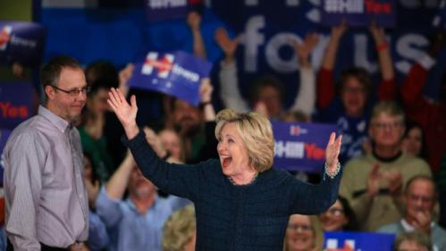 Democratic presidential candidate Hillary Clinton greets supporters during a campaign stop at Iowa Western Community College in Council Bluffs, Iowa, Tuesday, Jan. 5, 2016. (AP Photo/Nati Harnik)