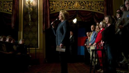 Democratic presidential candidate Hillary Clinton speaks during a rally at the Orpheum Theatre, Tuesday, Jan. 5, 2016, in Sioux City, Iowa. (AP Photo/Jae C. Hong)