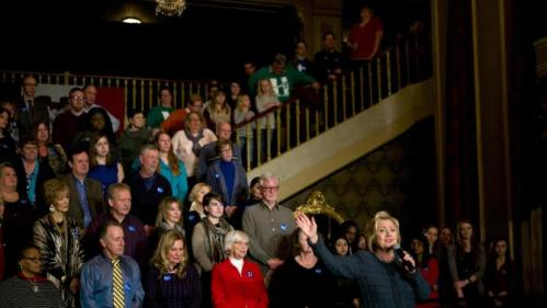 Democratic presidential candidate Hillary Clinton, right, speaks at a held at the Orpheum Theatre, Tuesday, Jan. 5, 2016, in Sioux City, Iowa. (AP Photo/Jae C. Hong)