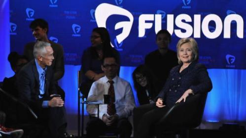 DES MOINES, IA - JANUARY 11: Journalist Jorge Ramos and democratic presidential candidate Hillary Rodham Clinton (R) pictured onstage during the FUSION presents the Brown & Black Democratic Forum at Drake University on January 11, 2016 in Des Moines, Iowa. (Photo by Fernando Leon/Getty Images for Fusion)