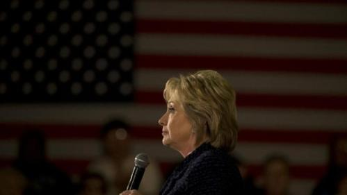 Democratic presidential candidate Hillary Clinton pauses for a moment while speaking at a rally Monday, Jan. 11, 2016, in Waterloo, Iowa. (AP Photo/Jae C. Hong)