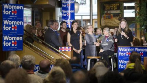 Chelsea Clinton, right, speaks during a campaign stop for her mother Democratic presidential candidate Hillary Clinton at Portsmouth Brewery, Tuesday, Jan. 12, 2016, in Portsmouth, N.H. (AP Photo/John Minchillo)