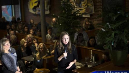 Chelsea Clinton speaks during a campaign stop for her mother Democratic presidential candidate Hillary Clinton at Portsmouth Brewery, Tuesday, Jan. 12, 2016, in Portsmouth, N.H. (AP Photo/John Minchillo)