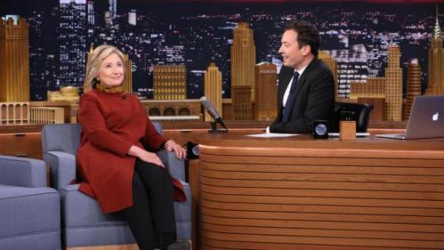 "This photo provided by NBC shows, Democratic presidential candidate Hillary Clinton, left, in an interview with host Jimmy Fallon during taping of ""The Tonight Show Starring Jimmy Fallon,"" on Thursday, Jan. 14, 2016, in New York. The Tonight Show airs weeknights 11:35 p.m. – 12:35 a.m. ET/PT. (Douglas Gorenstein/NBC via AP)"