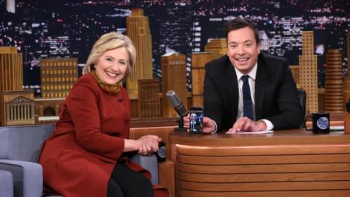 "In this photo provided by NBC, Democratic presidential candidate Hillary Clinton, left, and host Jimmy Fallon take a Snapchat during a taping of ""The Tonight Show Starring Jimmy Fallon,"" on Thursday, Jan. 14, 2016, in New York. The Tonight Show airs weeknights 11:35 p.m. – 12:35 a.m. ET/PT. (Douglas Gorenstein/NBC via AP)"