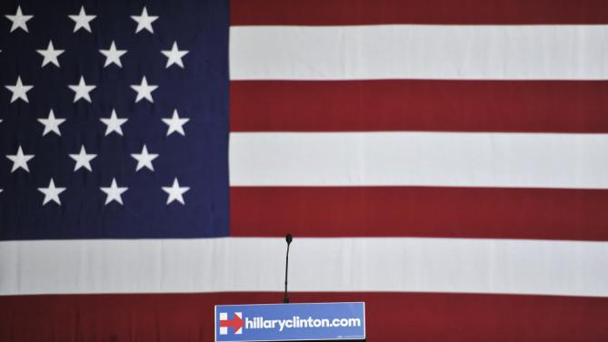 The podium is seen before former President Bill Clinton speaks at a campaign event for his wife, Democratic presidential candidate Hillary Clinton, on Thursday, Jan. 21, 2016, in Las Vegas. (AP Photo/David Becker)