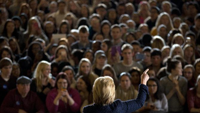 Democratic presidential candidate Hillary Clinton speaks during a rally on the campus of University of Iowa Thursday, Jan. 21, 2016, in Iowa City, Iowa. (AP Photo/Jae C. Hong)