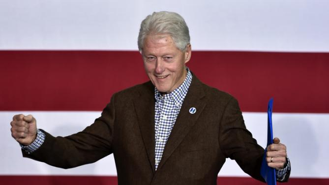 Former President Bill Clinton gestures before he speaks at a campaign event for his wife, Democratic presidential candidate Hillary Clinton, on Thursday, Jan. 21, 2016, in Las Vegas. (AP Photo/David Becker)