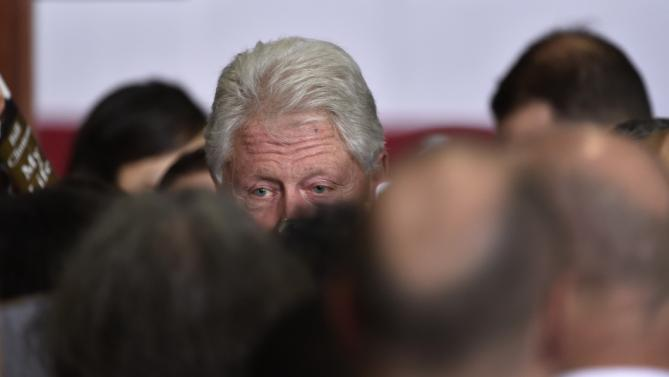 Former President Bill Clinton greets supporters after speaking at a campaign event for his wife, Democratic presidential candidate Hillary Clinton, on Thursday, Jan. 21, 2016, in Las Vegas. (AP Photo/David Becker)