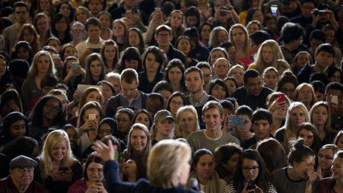 The crowd listens to Democratic presidential candidate Hillary Clinton during a rally on the campus of University of Iowa Thursday, Jan. 21, 2016, in Iowa City, Iowa. (AP Photo/Jae C. Hong)