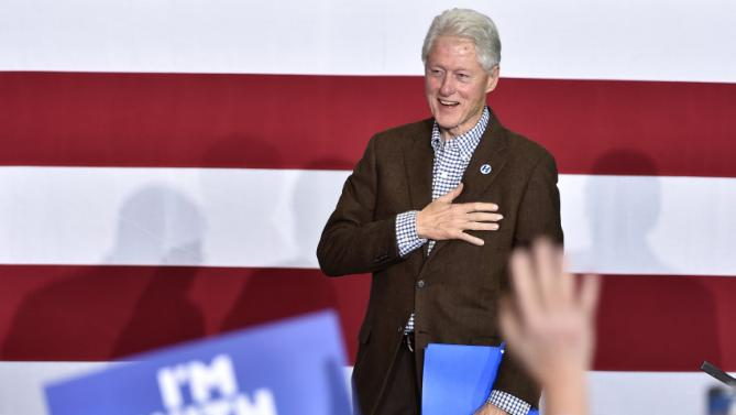 Former President Bill Clinton arrives to speaks at a campaign event for his wife, Democratic presidential candidate Hillary Clinton, on Thursday, Jan. 21, 2016, in Las Vegas. (AP Photo/David Becker)
