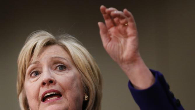 Democratic presidential candidate Hillary Clinton gestures as she speaks during a campaign event in Burlington, Iowa, Wednesday, Jan. 20, 2016. (AP Photo/Patrick Semansky)